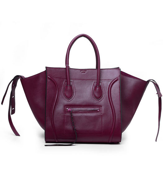 Celine Phantom Square Bags Wine Red Imported Leather With Black Side