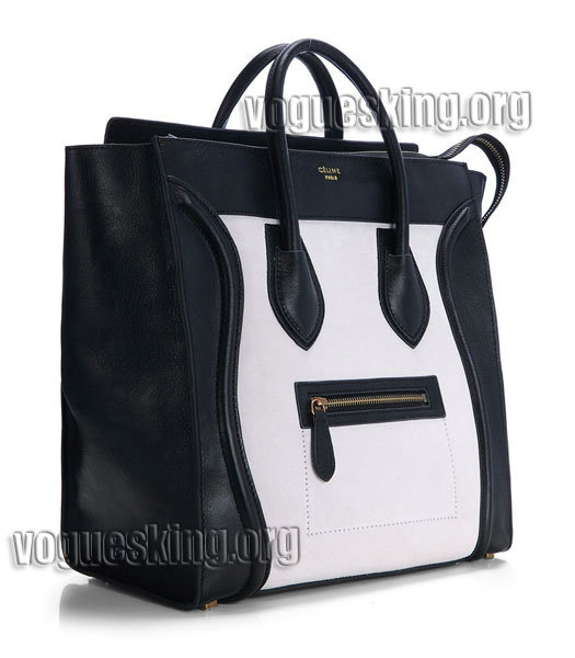 Celine Mini 33cm Large Tote Bag Offwhite Suede Leather With Black Imported Leather-1
