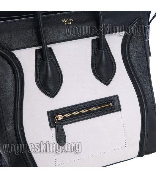 Celine Mini 33cm Large Tote Bag Offwhite Suede Leather With Black Imported Leather-4