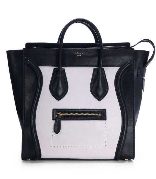 Celine Mini 33cm Large Tote Bag Offwhite Suede Leather With Black Imported Leather