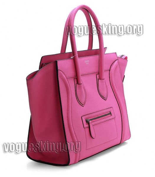 Celine Mini 30cm Pink Litchi Pattern Imported Leather Medium Tote Bag-1