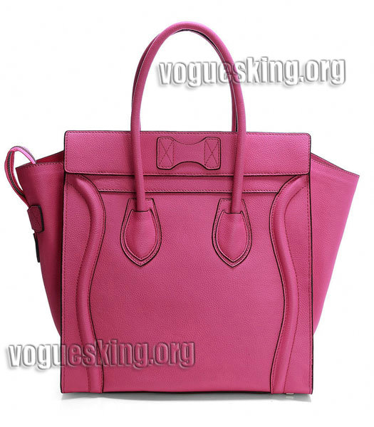 Celine Mini 30cm Pink Litchi Pattern Imported Leather Medium Tote Bag-2