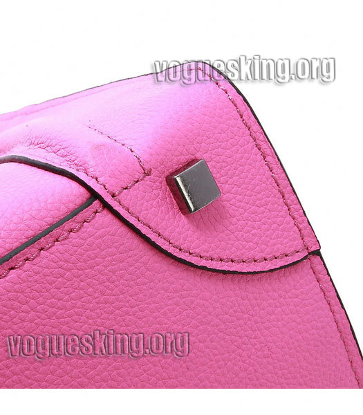 Celine Mini 30cm Pink Litchi Pattern Imported Leather Medium Tote Bag-4