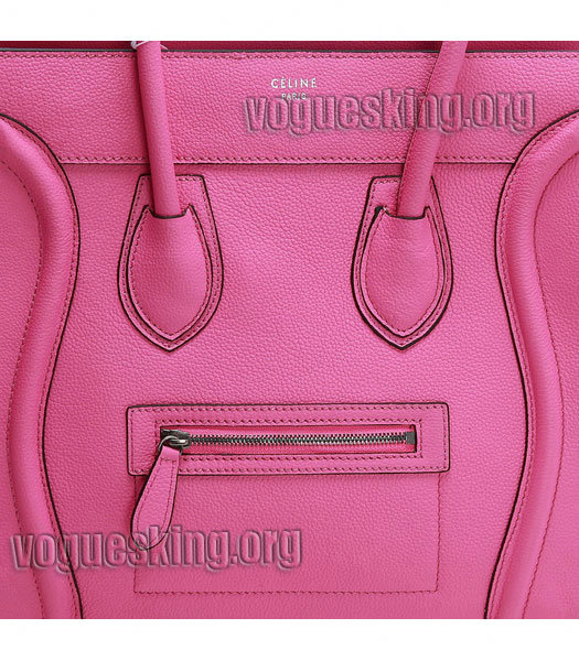 Celine Mini 30cm Pink Litchi Pattern Imported Leather Medium Tote Bag-5