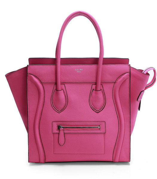 Celine Mini 30cm Pink Litchi Pattern Imported Leather Medium Tote Bag