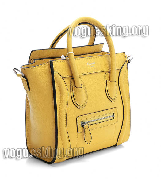 Celine Nano 20cm Small Tote Bag Yellow Litchi Pattern Imported Leather-1