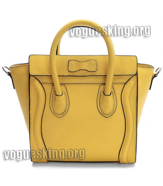 Celine Nano 20cm Small Tote Bag Yellow Litchi Pattern Imported Leather-2