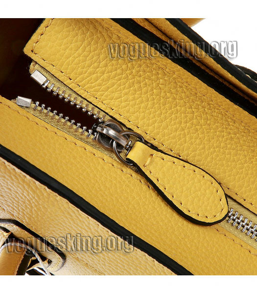 Celine Nano 20cm Small Tote Bag Yellow Litchi Pattern Imported Leather-4