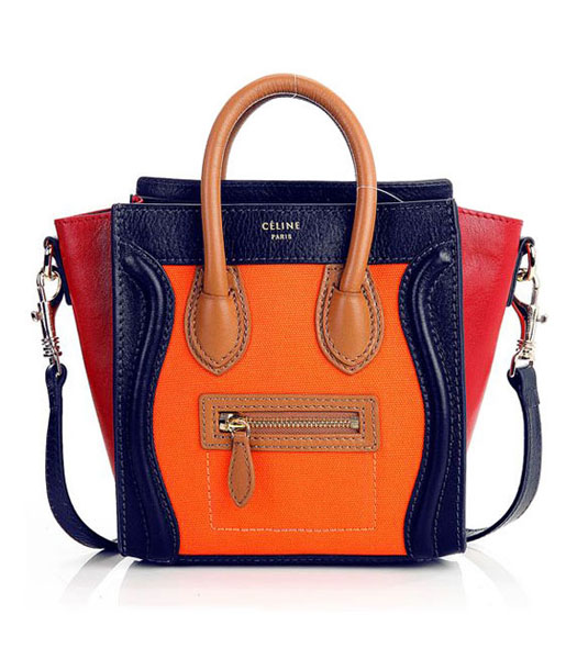 Celine Nano 20cm Small Tote Bag Orange Fabric With Dark BlueDark Red Imported Leather