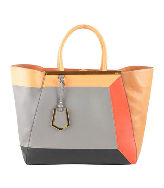 Fendi 2jours FF Pattern Black Leather Tote Bag