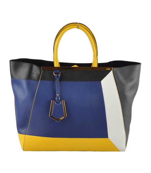 Fendi 2jours Red Soft Calfskin With Blue Leather Tote Bag
