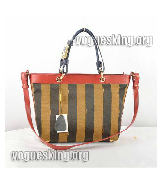 Fendi Big Mamma Light Coffee Imported Leather Handbag-2