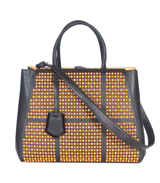 Fendi Striped Fabric With Light Coffee Leather Small Tote Shoulder Bag