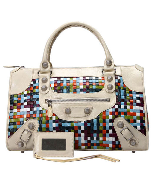 Balenciaga Large Multicolor Woven Bag in Offwhite Leather
