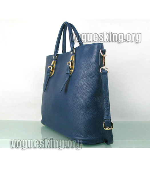 Yves Saint Laurent Bolso Mini Bag In Sapphire Blue Leather-3