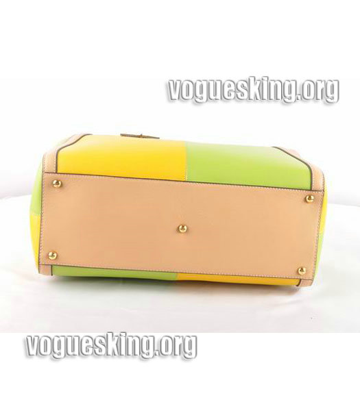 Fendi Yellow/White Cross Veins Leather Clutch-4