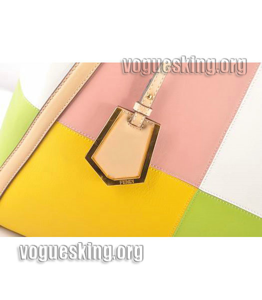 Fendi Yellow/White Cross Veins Leather Clutch-5