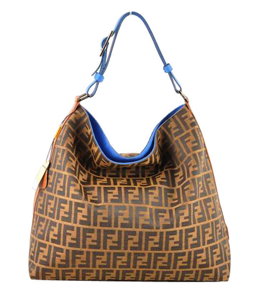 Fendi FF Fabric With Blue Leather Large Hobo Bag