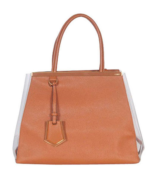Fendi 2jours Orange With Mixed Colors Leather Tote Bag
