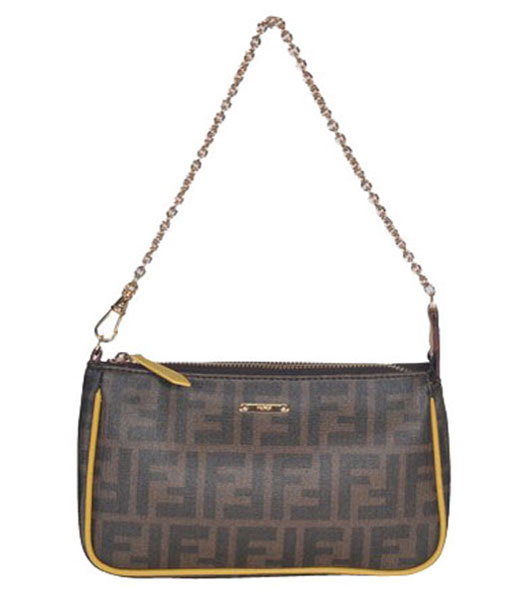 Fendi FF Fabric With Black Leather Medium Tote Shoulder Bag