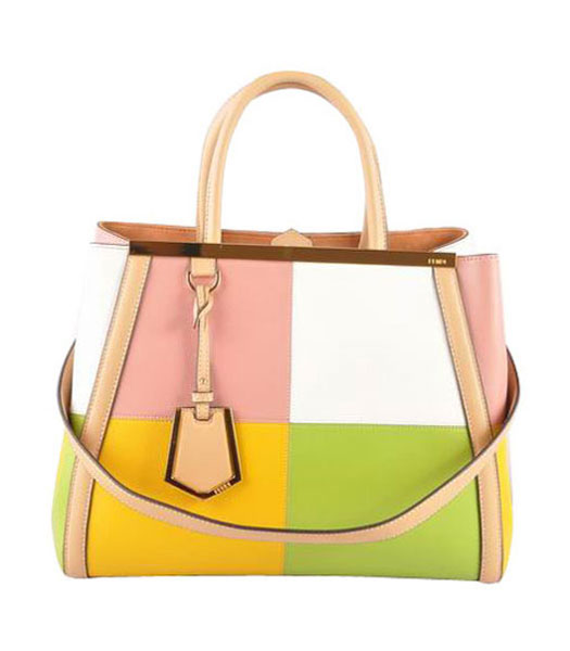 Fendi 2jours Pink Imported With Mixed Colors Leather Tote Bag