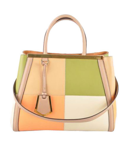 Fendi 2jours Apricot Yellow Imported With Mixed Colors Leather Tote Bag