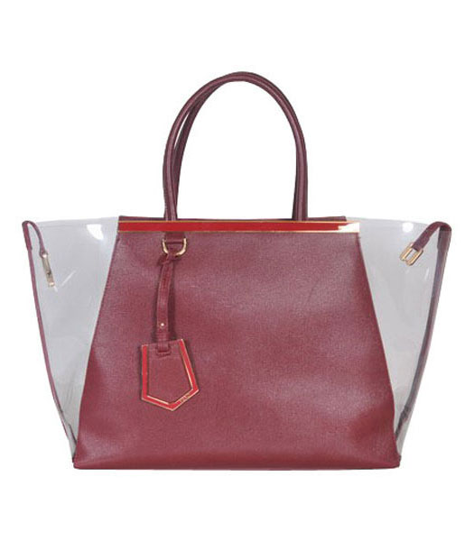 Fendi 2jours Transparent Plastic With Dark Red Cross Veins Leather Tote Bag