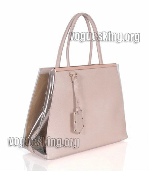 Fendi 2jours Transparent Plastic With Pink Cross Veins Leather Tote Bag-1