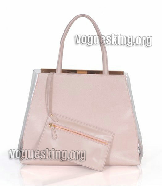 Fendi 2jours Transparent Plastic With Pink Cross Veins Leather Tote Bag-2