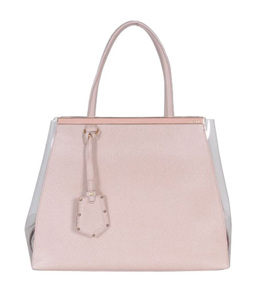 Fendi 2jours Transparent Plastic With Pink Cross Veins Leather Tote Bag
