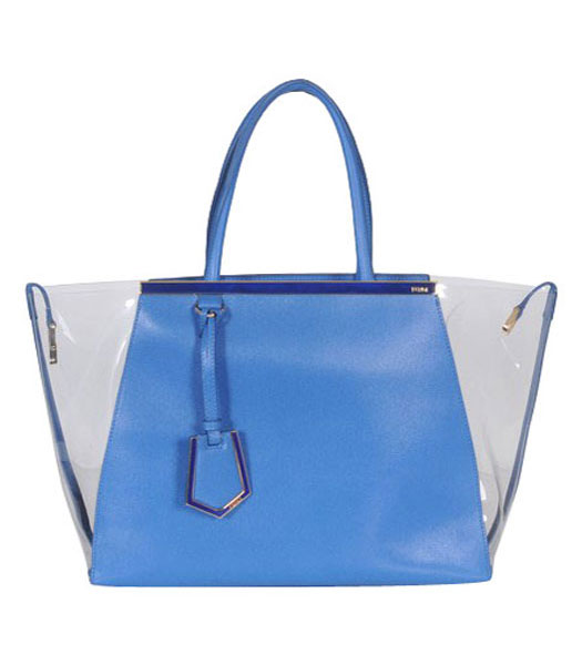 Fendi 2jours Transparent Plastic With Blue Cross Veins Leather Tote Bag