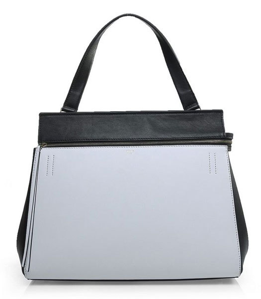 Celine Edge Tote Bag In White/Black Original Leather