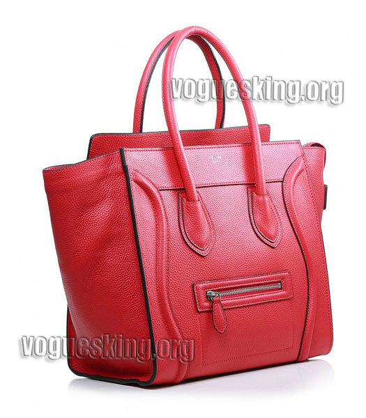 Celine Mini 30cm Red Litchi Pattern Leather Tote Bag-1