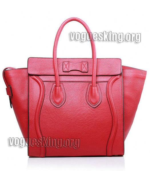 Celine Mini 30cm Red Litchi Pattern Leather Tote Bag-2