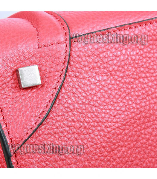Celine Mini 30cm Red Litchi Pattern Leather Tote Bag-4