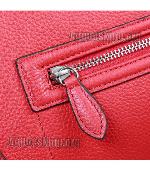 Celine Mini 30cm Red Litchi Pattern Leather Tote Bag-5
