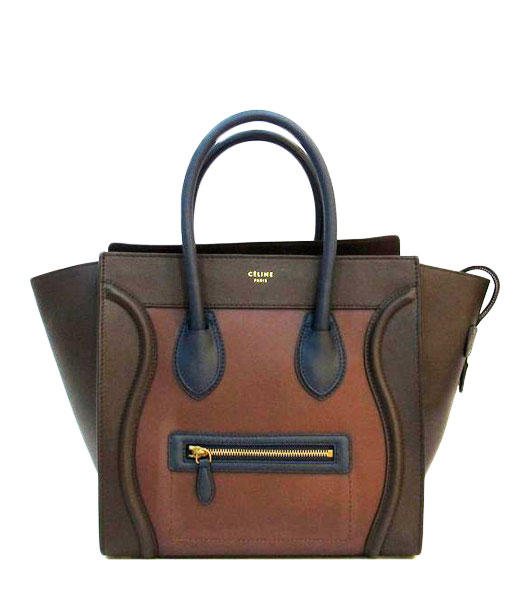 Celine Mini 30cm Coffee With Light Coffee/Blue Leather Tote Bag