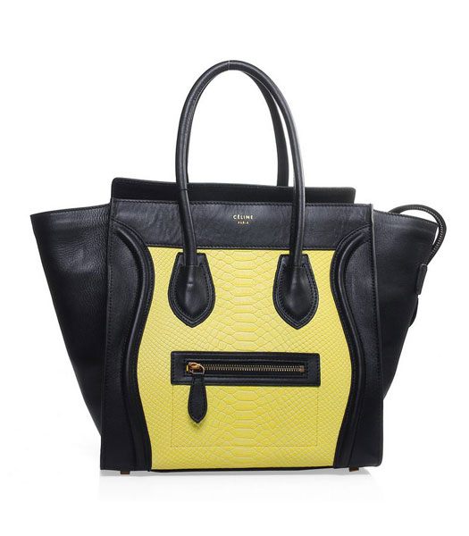 Celine Mini 30cm Yellow Snake Veins With Black Original Leather Tote Bag