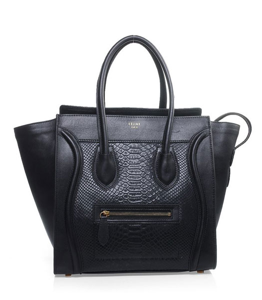 Celine Mini 30cm Black Snake Veins With Original Leather Tote Bag
