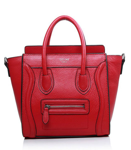 Celine Nano 20cm Small Tote Handbag Red Litchi Pattern Leather