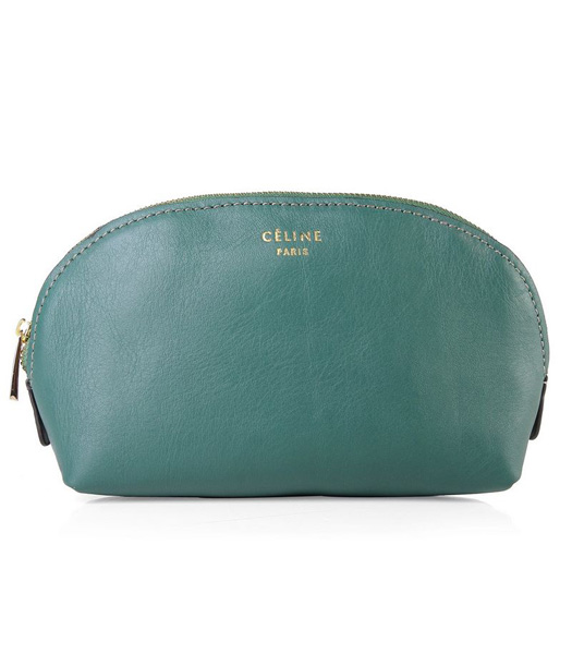 Celine Dark Green Original Leather Cosmetic Bag