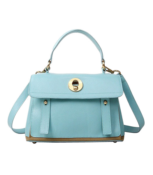 Yves Saint Laurent Muse Two Small Tote Bag Sky Blue