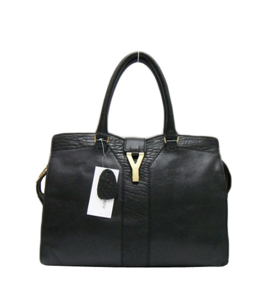 Yves Saint Laurent Large Cabas Chyc Black Elephant Pattern Leather Tote Bag