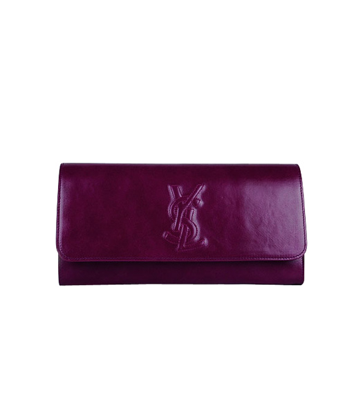 Yves Saint Laurent Belle De Jour Purple Red Oil Leather Clutch