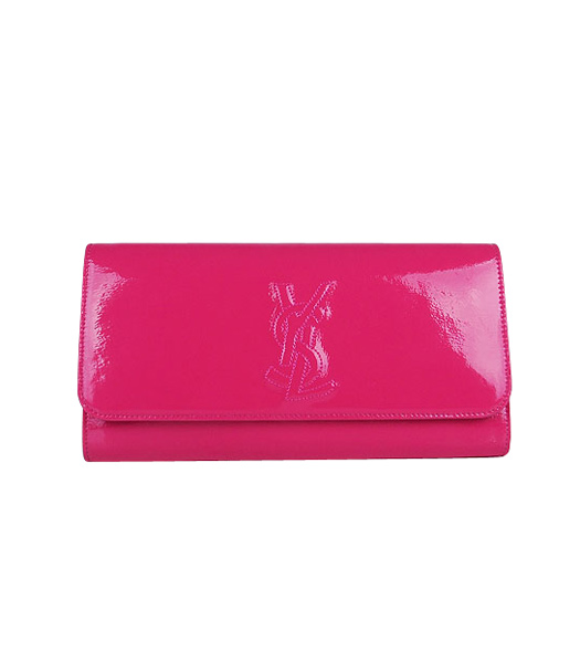 Yves Saint Laurent Belle De Jour Peach Patent Leather Clutch