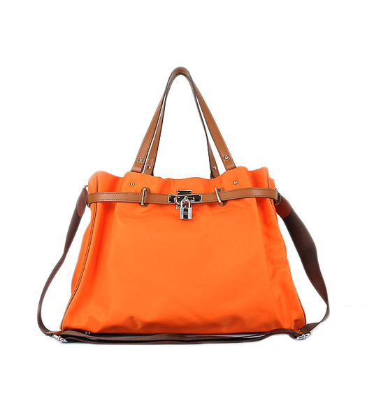 Hermes Large Orange Waterproof Fabric With Light Coffee Calfskin Leather Shoulder Bag