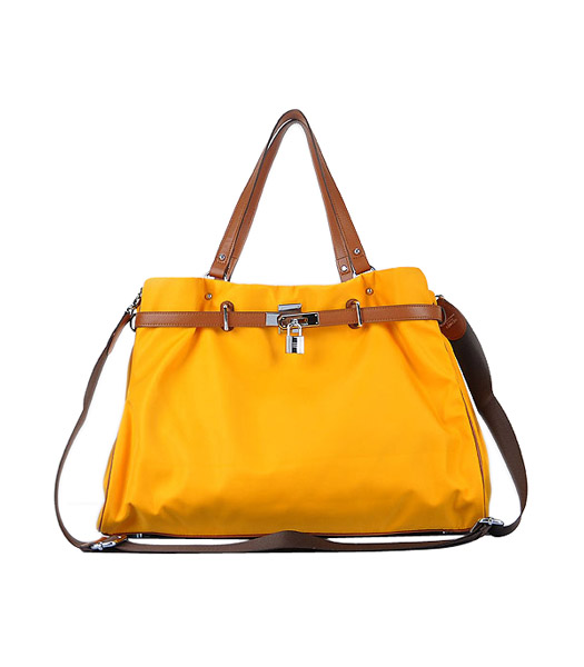 Hermes Large Yellow Waterproof Fabric With Light Coffee Calfskin Leather Shoulder Bag