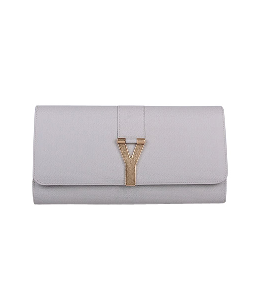 Yves Saint Laurent Chyc Textured Leather Clutch Offwhite Calfskin