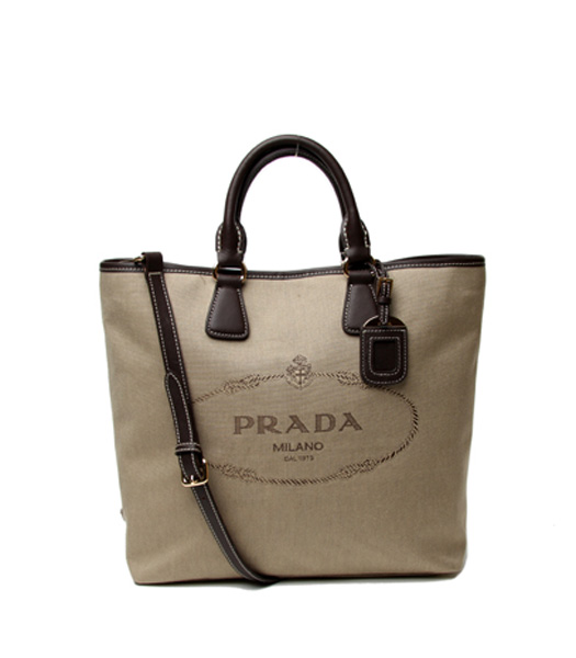 Prada Apricot Canvas With Dark Coffee Leather Tote Bag