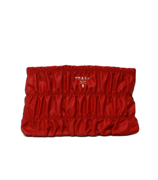 Prada Gaufre Fabric With Red Lambskin Leather Clutch